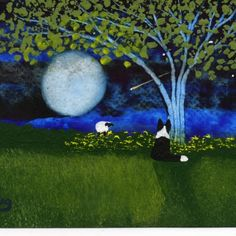 Border Collie Dog Modern Folk Art PRINT of Todd Young painting Spring Night | toddyoungart - Print on ArtFire