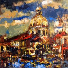 Modern Impressionist Venice Sparkling At Sunset  Painting  - Modern Impressionist Venice Sparkling At Sunset  Fine Art Print