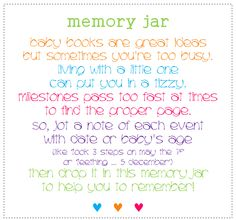 Memory Jar label for new baby gift @Kaila Mikulan  this is such a cute idea!!!