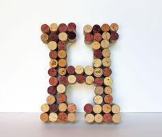 Wine Cork Monogram Letter by BananaBeanDesign on Etsy