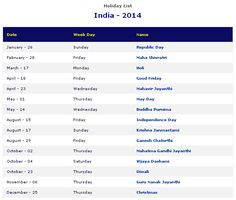 2014 Holiday List in India  http://www.settlersindia.com/general-information.html
