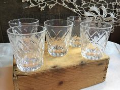 Set of Five Matching Vintage Federal Shot Glasses / Diamond Hatch Design by SunshineVintageGoods on Etsy