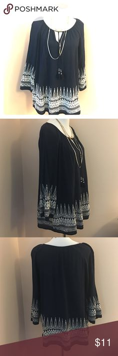 "EUC boho embroidered tunic Like new condition. Navy blue, 100% cotton crepe tunic with heavily embroidered detail. Tie neck. Machine wash cold. 29"" shoulder to hem. 23"" armpit to armpit. Smoke-free pet-friendly home.  No trades, holds, or modeling. Merona Tops Tunics"