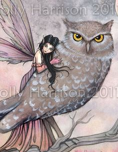Friendship Original Fairy and Owl Fine Art door MollyHarrisonArt