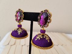 Purple jhumkas/ Silk thread jhumkas/ Silk thread earrings/ Light weight jhumkas…
