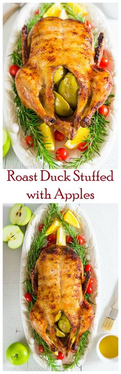 Roast duck stuffed with granny smith apples and brushed with a sweet lemon-orange glaze. Christmas Main Dishes, Christmas Time, Gourmet Recipes, Cooking Recipes, Free Recipes, Roasted Duck Recipes, Goose Recipes, Maine, English Food