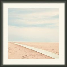 Lonesome Beach Pathway Square Abstract Framed Print By Angela Bonilla.  Cream, blue, peach home decor.  Rimini Beach, Italy, Adriatic Sea.