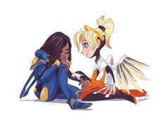 Little Mercy comforting little Pharah ((SCREAMING CONTINUES))