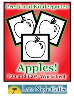 Pre-K and Kindergarten Apple Worksheet