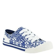 Indigo blue and white floral canvas shoes - rocket dog #shoes
