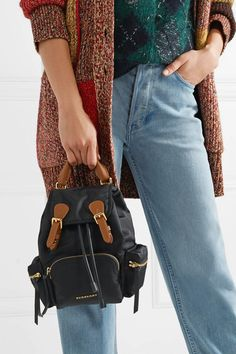Burberry | Small leather-trimmed gabardine backpack | NET-A-PORTER.COM