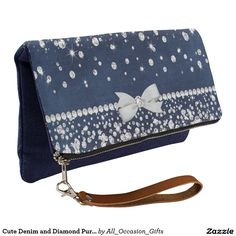 Shop Cute Denim and Diamond Purse created by All_Occasion_Gifts. Denim Background, Diamond Shoes, Diamond Party, Denim And Diamonds, Clutch Purse, Evening Bags, Purses, Wallet, Cute
