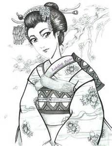 LadyGoth Painter: Geisha realizada en tinta - Dibujo Propio -