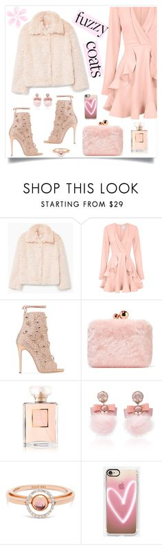 """Keep it Cozy: Fuzzy Coats"" by alinepinkskirt on Polyvore featuring MANGO, C/MEO COLLECTIVE, Giuseppe Zanotti, Sophia Webster, Chanel, Ranjana Khan, Marie Mas and Casetify"