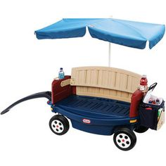LOVE this wagon! $127...wagon is like a 4-in-1...it's an old school wagon, turns into a bench, has flip seats with seat belts & the sides remove totally, built-on-cooler, drink holders, umbrella, quiet wheels & the handle stores underneath. I don't think you can find one better than this!