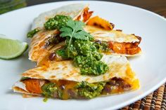 Sweet Potato & Black Bean Quesadillas with Swiss Chard Pesto--This recipe is perfect for Lent. It's meat-free, yet hearty and full of flavor (via ClosetCooking).
