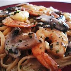 Shrimp and Mushroom Linguini with Creamy Cheese Herb Sauce -
