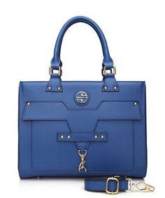 Caressa blue leather shoulder bag Sale - SEGOLENE Sale