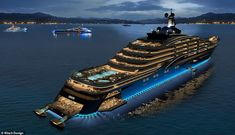 World-class medical care will also be available onboard, providing apartment owners with the highest level of safety away from pandemics and other global risks. This rendering shows how Somnio will be a sight to behold even at night Big Yachts, Super Yachts, Luxury Yachts, Luxury Cars, Apartments For Sale, Luxury Apartments, Decks, Restaurant Hotel, Yachts