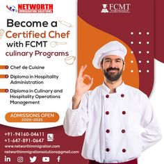 Become a Certified Chef with Flair College of Management and Technology Culinary Programs- 🔸Chef de Cuisine [1 Year – 50 Weeks] 🔸Diploma in Hospitality Administration [400 Hours – 20 Weeks] 🔸Diploma in Culinary and Hospitality Operations Management [2 Years – 90 Weeks] ❗️Admissions Open for September 2020 & January 2021 Intakes❗️ Hurry Up!! ENROLL TODAY!! For more information contact below👇 ☎️ Ph: +1-647-891-0647 📧 Email: networthimmigrationsolutions@gmail.com 🇨🇦 Canada Office: Unit… 20 Weeks, Operations Management, Hospitality, 1 Year, Programming, Ph, How To Become, September, College
