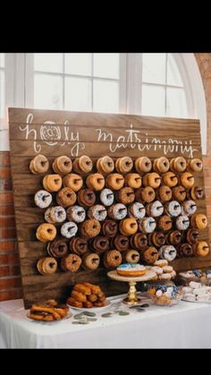 Love this donut wall! - Love this donut wall! Best Picture For donut grow up first birthday For Your Taste You are lookin - Perfect Wedding, Fall Wedding, Diy Wedding, Rustic Wedding, Dream Wedding, Food At Wedding, Wedding Puns, Wedding Stuff, Wedding Desserts