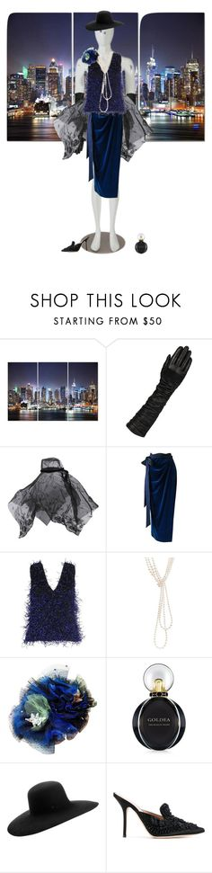 """""""Night in New York"""" by cocofacem ❤ liked on Polyvore featuring Wilsons Leather, Ann Demeulemeester, Versace, Christopher Kane, Chanel, Bulgari, Maison Michel and Alberta Ferretti"""