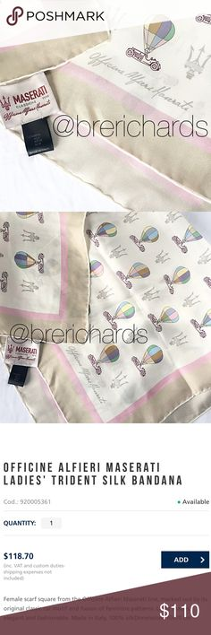 OFFICINE ALFIERI MASERATI SILK BANDANA/SCARF From Officine Alfieri Maserati line Classic car motif Balloon design Light shades Made in Italy  Color: Pink, Tan, White, Blue, Purple, Green  Condition: Perfect  Material: 100% Silk  Measurements: 70 X 70 cm  No stains, rips, tears | Pet/Smoke free home.  Officine Alfieri Maserati Accessories Scarves & Wraps
