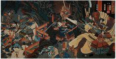 歌川国芳 1853_大江山入之図 Samurai vs. Deamon