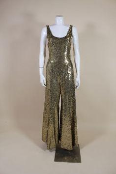 1970's Chloé Gold Sequined Lurex Disco Jumpsuit.