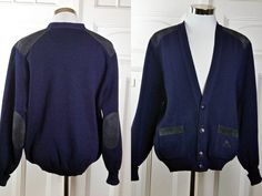 Vintage Burberrys Cardigan Sweater, Navy Blue Cotton Knit Sweater w Dark Blue Faux Suede Shoulder and Elbow Patches: Large (40-42 US/UK) by YouLookAmazing on Etsy