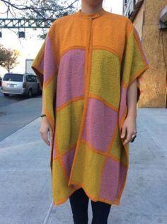 1970 unique vivid boucle Bonnie Cashin wool poncho