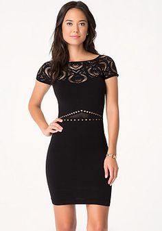 bebe Lace Yoke Dress