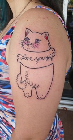Funny Cat Tattoo for Girls on Arm