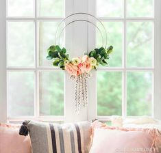 Simple yet stunning, this DIY hoop wreath really brings the chic. To DIY: Wire 2 steel rings together at one point with floral wire. Secure florals onto the hoops with floral wire. Finish off with a trendy bow. Diy Spring Wreath, Diy Wreath, Wreath Ideas, Summer Diy, Floral Wedding, Easy Diy, Simple Diy, Diy Crafts, Chic