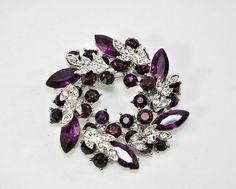 Purple Rhinestone Wedding Brooch, dark Purple crystal Brooch, Bridal Bridesmaid Dress Sash, Cake decor, Necklace DIY Jewelry purple weeding