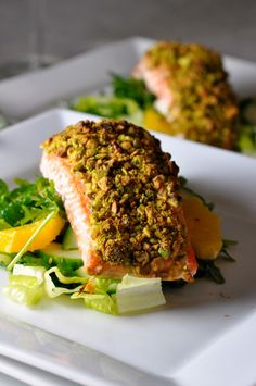 This Baked Pistachio-Crusted Salmon is an easy but elegant way to serve salmon. Keto, Paleo and Salmon Recipes, Fish Recipes, Seafood Recipes, Dinner Recipes, Cooking Recipes, Healthy Recipes, Entree Recipes, Paleo Dinner, Fish Dishes