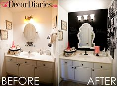Inspiration for my bathroom. Not the tacky black paint but I do like the accessories and pictures on the wall