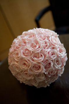 light pink sphere bridal bouqet