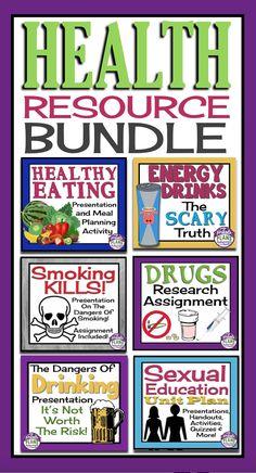 HEALTH UNIT PLAN / RESOURCE BUNDLE: Smoking, Drinking, Drugs, Sex Ed & More! 150+ Pages/Slides