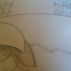#sandworm and Furrmen #cat #scifi #illustration #dune #drawing #pencil #art by nouvellegamine