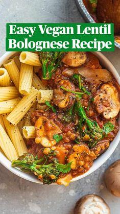 Tasty Vegetarian Recipes, Vegan Dinner Recipes, Vegan Dinners, Whole Food Recipes, Cooking Recipes, Healthy Recipes, Vegan Food, Healthy Vegan Meals, Vegan Pasta