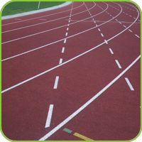 Athletics track in a rubber surface with line marking