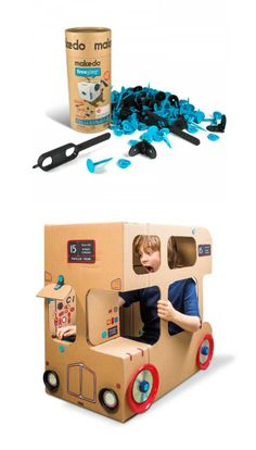 Makedo Construction Kit for kids; wonderful, encourage creativity. The next big box will be a cardboard bus!