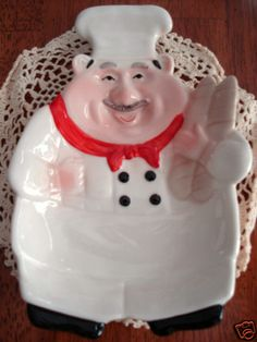 FAT ITALIAN BISTRO CHEF CERAMIC SWEETS,CANDY DISH,UTENSIL,SPOON REST,STYLISH,NEW | eBay