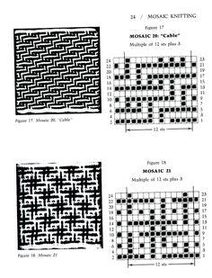 Mosaic Knitting Barbara G. Walker (Lenivii gakkard) Mosaic Knitting Barbara G… Fair Isle Knitting Patterns, Intarsia Patterns, Knitting Charts, Mosaic Patterns, Knitting Designs, Knitting Stitches, Stitch Patterns, Mosaic Knitting, Slip Stitch Knitting