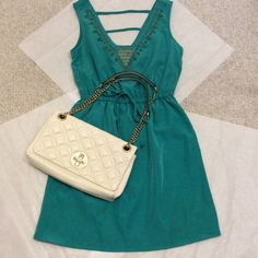 NWT BeBop Embellished Dress RePosh!  Love this dress but it is too tight in the chest for me! Only tried on, ready for a new home. Jade green color. Kate Spade purse also for sale in my closet BeBop Dresses Mini
