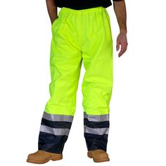 B Seen Hi Visibility Belfry Trousers Saturn Yellow Navy