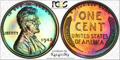 1942 Lincoln Wheat Cent Awesome Color Toned Proof! PCGS PR64RB Trueview   eBay