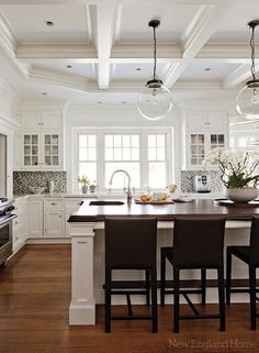 Beautiful Ceilings with lighting above the island!