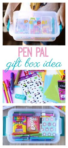 Make a pen pal kit to keep in touch with friends over the summer! A small tote filled with paper envelopes pens pencils and other fun writing accessories! Dont forget your address! Going Away Presents, Presents For Best Friends, Diy Gifts For Friends, Leaving Presents, Kids Gifts, Friend Moving Away Gifts, Moving Gifts, Snail Mail Pen Pals, Pen Pal Letters